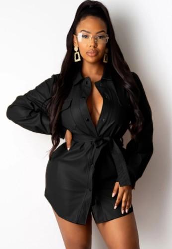 Abito blusa in pelle nera formale invernale con cintura abbinata