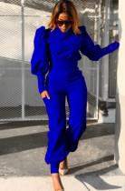 Otoño formal azul con manga abullonada y pantalones a juego Traje de 2 piezas