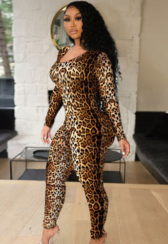 Autumn Party Sexy Leopard O-Neck Bodycon Jumpsuit