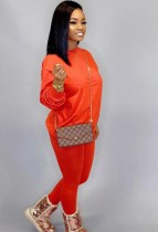 Otoño Casual Naranja O-cuello Básico Camisa y Pantalones 2PC Loungewear