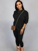 Otoño Casual Negro O-cuello Básico Camisa y Pantalones 2PC Loungewear