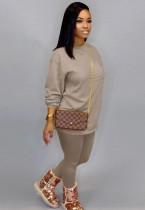 Otoño Casual Caqui O-cuello Básico Camisa y Pantalones 2PC Loungewear