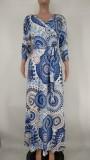 Sonbahar Büyük Beden Baskı Enthic Wrap Eşleşen Kemerli Uzun Maxi Elbise