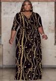 Sonbahar Büyük Beden Zincirler Baskı Wrap Eşleşen Kemerli Uzun Maxi Elbise