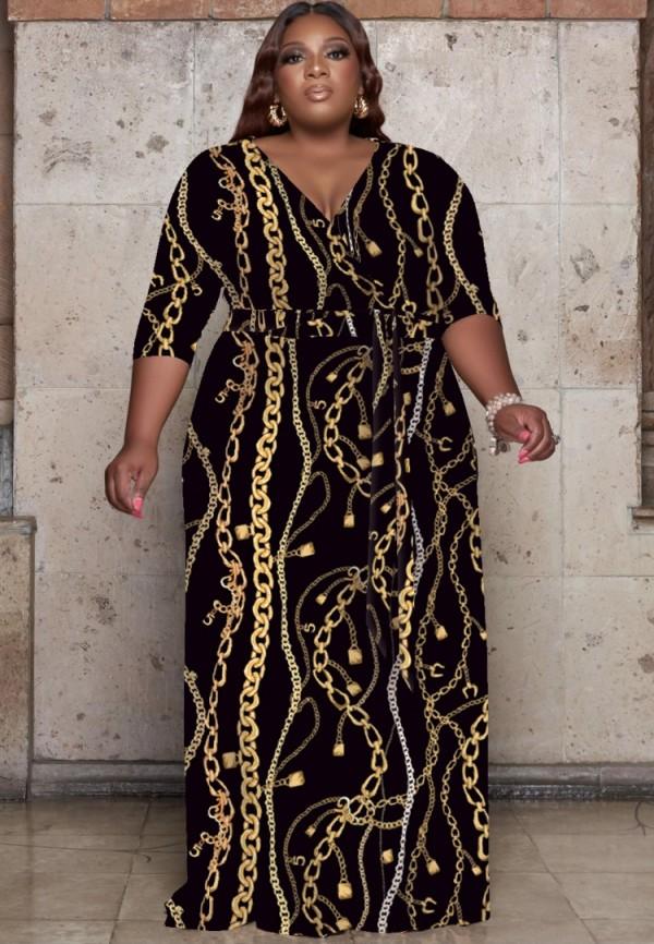 Herbst Plus Size Chains Print Wrap Langes Maxikleid mit passendem Gürtel