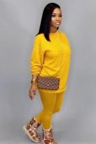 Otoño Casual amarillo o-cuello camisa básica y pantalones 2PC Loungewear