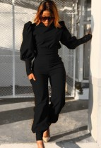 Otoño formal negro con mangas abullonadas y pantalones a juego Traje de 2 piezas