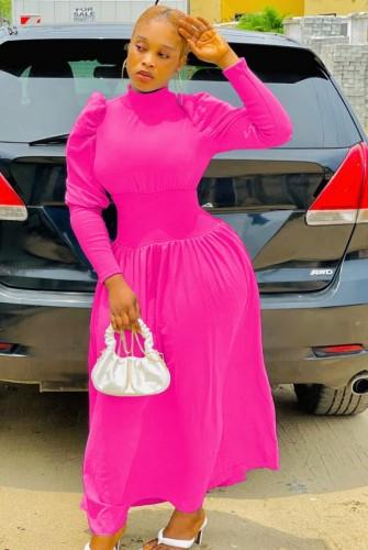 Inverno elegante rosa manica a sbuffo dolcevita abito da sera lungo