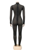 Autumn Party Black Stripes Sexy See Through Bodycon Jumpsuit