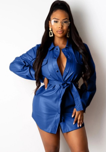 Abito blusa formale in pelle blu invernale con cintura abbinata