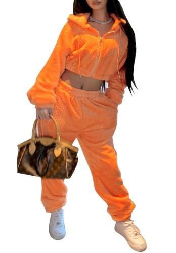 Inverno Casual Arancione Felpa Crop Top e Pantaloni Abbinati Set 2PC