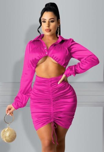 Vestido ajustado acanalado con corte sexy de rosa de fiesta de otoño