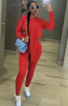 Autunno Casual Rosso Irregolare Felpa Con Cappuccio Top e Pantaloni Tuta