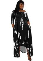 Herbst Casual Print Schwarzes unregelmäßiges langes Kleid