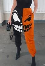 Pantaloni della tuta di Halloween con stampa a contrasto di colore del diavolo