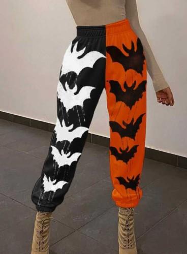 Контрастные цветные спортивные штаны для Хэллоуина с принтом летучей мыши