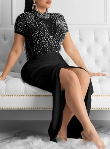 Herbst formales schwarzes Perlen-Kurzarm-Abendkleid mit Schlitz