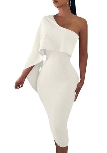 Vestido a media pierna blanco formal de otoño con un hombro