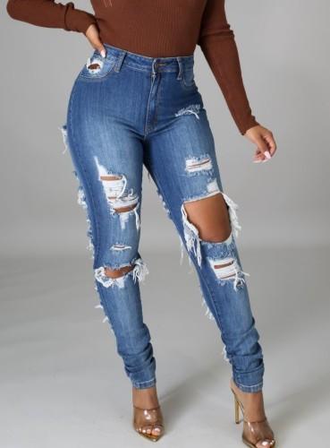 Herbstblaue zerrissene Jeans mit hoher Taille