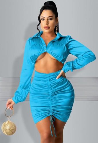 Vestido ajustado con pliegues y corte sexy azul de fiesta de otoño