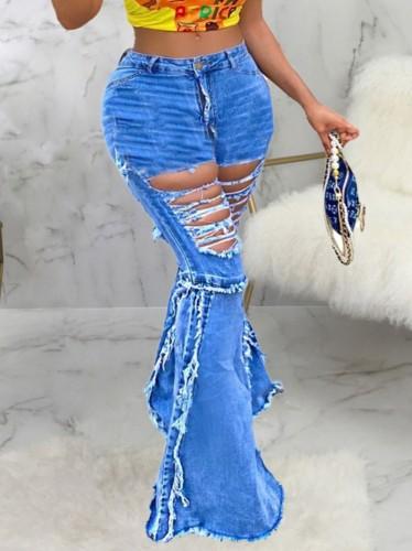 Herbstblaue, zerrissene Jeans mit hohem Bund und Bell-Bottom