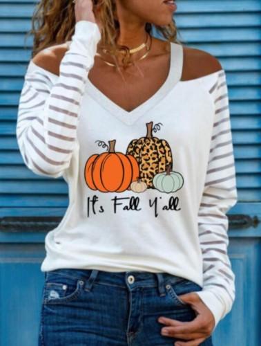 Pumpkin Print Cut Out Shoulder V-Neck Halloween Shirt