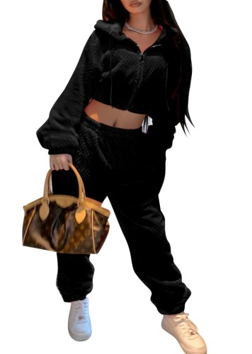 Inverno Casual Black Hoody Crop Top e pantaloni abbinati al set da 2 pezzi