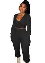 Winter Black Casual Patch V-Neck Cropped Top and Pants 2 Piece Set