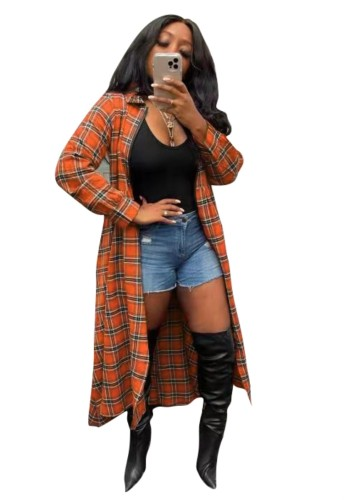 Autumn Casual Plaid Print Long Blouse with Long Sleeves