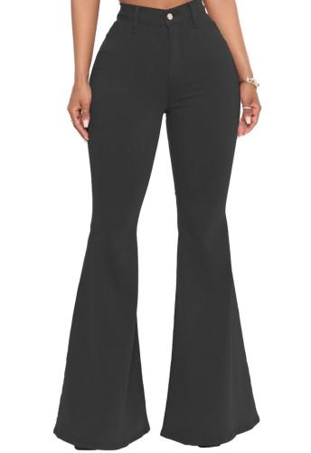 Herbst – Schwarze Jeans mit hoher Taille und Schlaghose