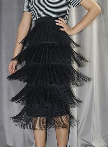 Falda lápiz con flecos de cintura alta negra formal de otoño