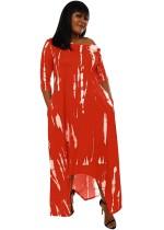 Herbst Casual Print Rotes unregelmäßiges langes Kleid