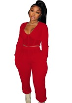 Winter Red Casual Patch V-Neck Cropped Top and Pants 2 Piece Set