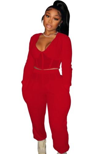 Winter Rot Casual Patch V-Ausschnitt Cropped Top und Hose 2 Stück Set