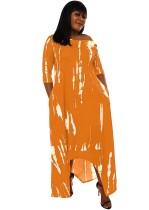 Herbst Casual Print Orange unregelmäßiges langes Kleid