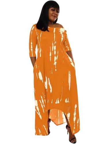 Abito lungo irregolare arancione con stampa casual autunnale
