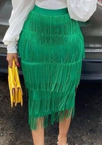 Falda lápiz con flecos de cintura alta verde formal de otoño