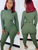 Winter Casual Grünes Basic Geripptes Fitting Top und Hosen Set