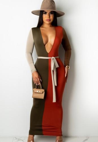 Vestido ajustado largo con escote en V profundo y sexy en contraste de otoño