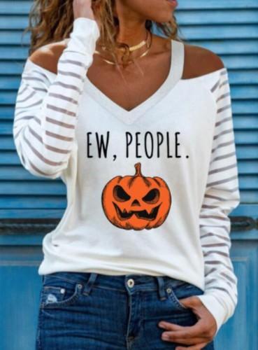 Рубашка на Хэллоуин с V-образным вырезом и вырезом на плече с тыквенным принтом