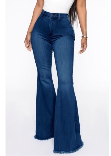 Herbst dunkelblaue High Waist Bell-Bottom-Jeans