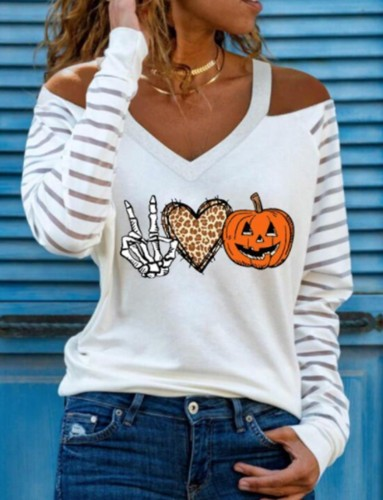 Pumpkin Skull Print Cut Out Shoulder V-Neck Halloween Shirt