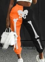 Pantaloni della tuta di Halloween con stampa di scheletri a contrasto di colore