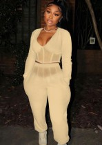Winter Khaki Casual Patch V-Neck Cropped Top and Pants 2 Piece Set