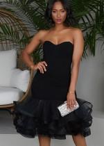 Vestido de fiesta de sirena sin tirantes negro formal de otoño