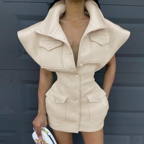 Minivestido con hombros anchos y botones de invierno caqui con bolsillos