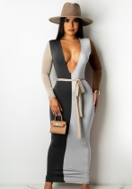 Herbst Kontrastfarbe Sexy Deep-V Langes, figurbetontes Kleid