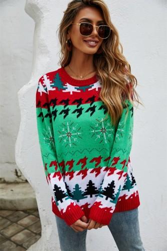 Maglione natalizio verde con scollo a O con stampa di alberi di Babbo Natale