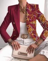 Otoño elegante estampado cuello vuelto rojo chaqueta regular