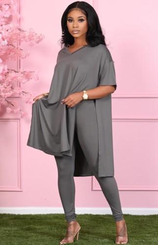 Set di leggings aderenti con scollo a V e scollo a V casual grigio autunno casual